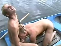 Twink and older guy sexing on river