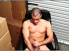 Sebastian gets naked and jerks off in warehouse