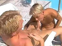 Blond twinks suck in 69 near pool