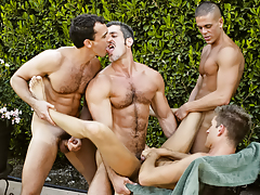 A steamy session of cock sucking, rimming, and group fucking