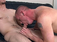 White twink gets nice head from tattooed white guy