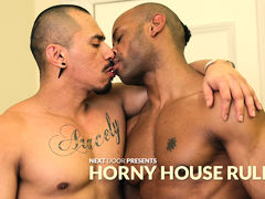 Marlone Starr & Romero Santos are boyfriends who like to fuck...a lot.  In fact, anytime they go out on the town, they simply must get freaky.  At the same time as Marlone sits reading and relaxing on the living room couch, Romero comes in to see if Marlo