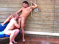 Patrick gives Cody a hot blowjob outside, after a hot shower