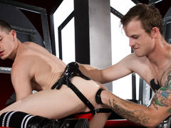 Tatted princess Bruce Orgy spots Axel Abysse pawing he's and pounces at the opportunity to join him. After some heavy tongue swapping and jacking off each other's bulges, Axel bends over and Bruce hits his knees to get a taste of Axel's rosebud. With his