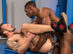 Sociable stud Chris Harder sports a beard, lots of ink, and a hairy chest and legs. He knows what he wants and how to get it. He hooks an elbow around Derek Maxum's neck, pulls him close for a kiss, embraces his hard cock and inhales. With a blow job this
