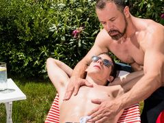 Cute little bad boy Kory Houston is acting like a spoiled brat. His manly step-dad is sick and tired of his attitude and thinks it's time to give Kory Houston a whipping that he deserves. Time to teach him a lesson! But the hardcore whipping is exactly wh
