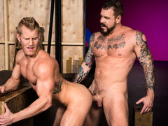 Tattooed muscle boy Rocco Steele locks lips with ginger-blond hunk Johnny V. Johnny touches Rocco's massive cock, then sinks to his knees to perform oral worship. Few chaps could manage Rocco's heavy girth and length, but Johnny shows off just how good h