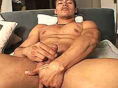 Amazing latin dude touching his hard cock until he cums!
