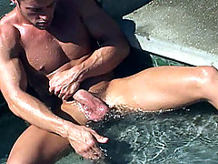Cody pulls out that huge hog of his and slowly strokes it!