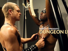 In the dungeon, no one is safe from the wrath of Caleb King.  This time, JP Richards is on the receiving end.  Blindfolded and bound, JP doesn't know what or who will be doling out punishment today, but this dude knows he'll likely have to deal with a ext