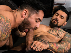 Bruno Bernal enters the shop to find Boomer Banks hard at put into below a pickup. Bruno helpfully passes a equipment to Boomer, but Bruno's hand drifts down to explore the massive equipment in Boomer's pants. Boomer's monster meat is an irresistible temp