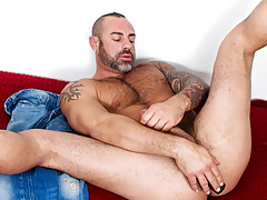 hot mature stud with hair and tattoos fucks dildos with waste