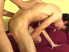 Two Horny Men Fucking Each Other Bareback On Pink Sofa