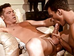 B.J. uses his gargantuan cock to drill Adam's firm butt !