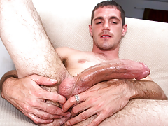 horny burly dude with body hair masturbates his huge cock
