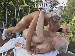 Twink nasty hammering his friend in the farm chair